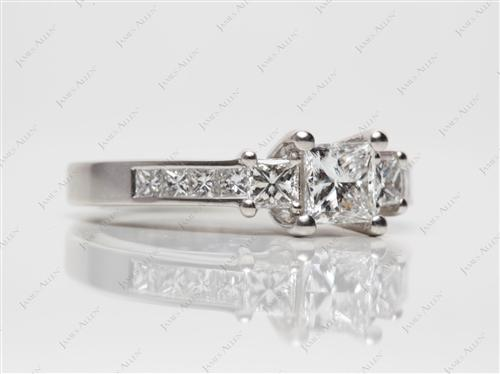 Platinum 0.72 Princess cut Engagement Ring With Side Stones