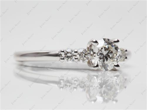 White Gold 0.57 Round cut Engagement Ring Settings With Side Stones
