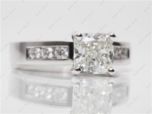 Platinum 1.81 Cushion cut White Gold Wedding Sets