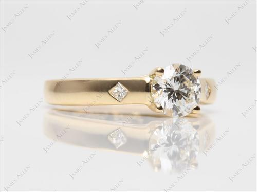 Gold 0.58 Round cut Solitaire Diamond Ring
