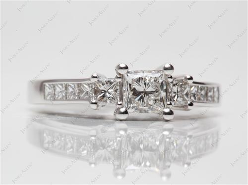 White Gold 0.65 Princess cut Engagement Rings With Side Stones