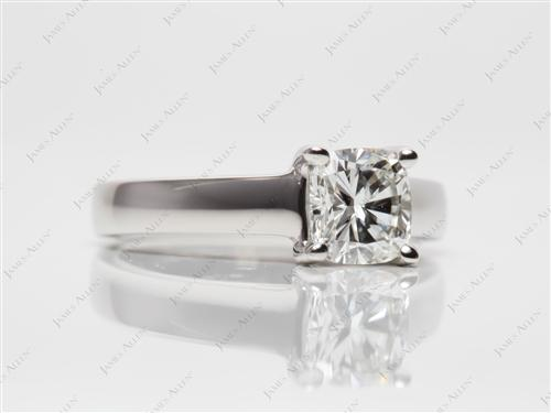 Platinum 1.02 Cushion cut Solitaire Diamond Rings