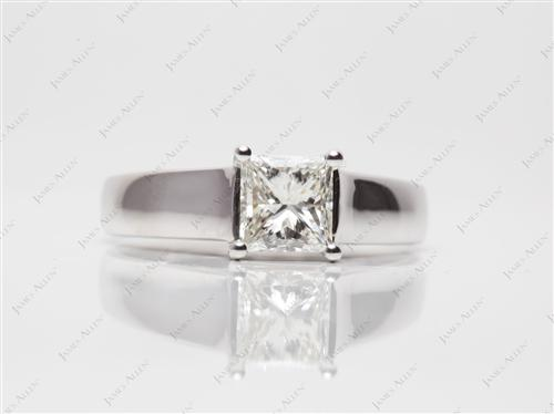 White Gold 0.95 Princess cut Solitaire Engagement Rings