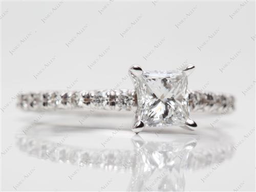 White Gold 0.71 Princess cut Pave Engagement Rings