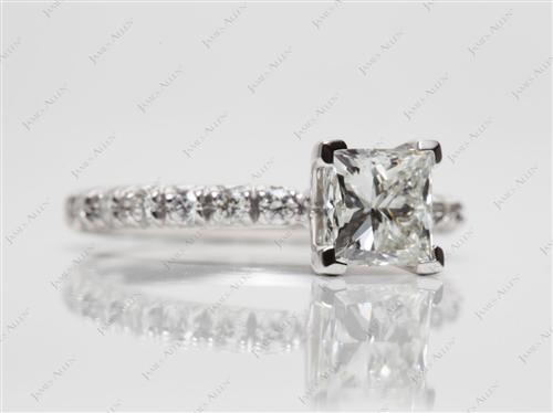 Platinum 1.14 Princess cut Pave Ring