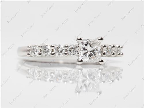 Platinum 0.57 Princess cut Engagement Ring Side Stones