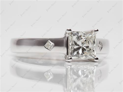 White Gold 1.01 Princess cut Diamond Solitaire Ring Settings