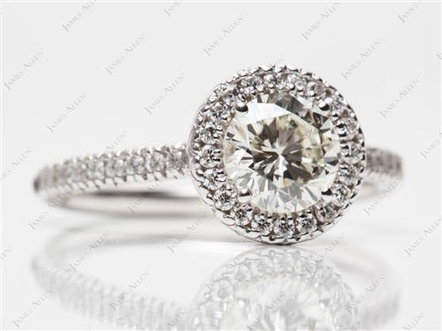 White Gold 0.97 Round cut Diamond Pave Rings
