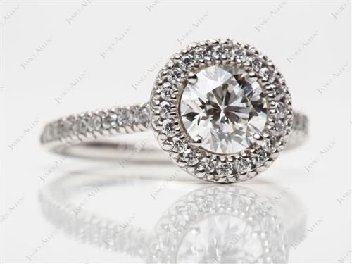 Platinum 0.72 Round cut Pave Ring Mountings