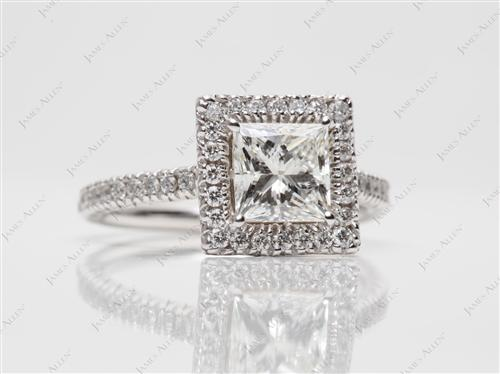 White Gold 1.02 Princess cut Pave Engagement Ring