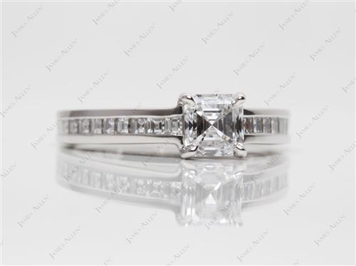 Platinum 0.74 Asscher cut Channel Set Engagement Ring