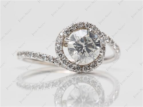 White Gold 1.03 Round cut Diamond Rings