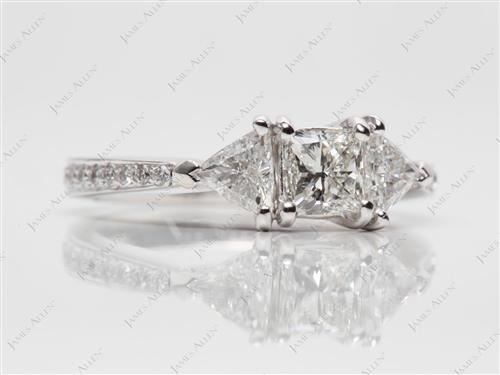 White Gold 0.62 Princess cut Pave Engagement Rings