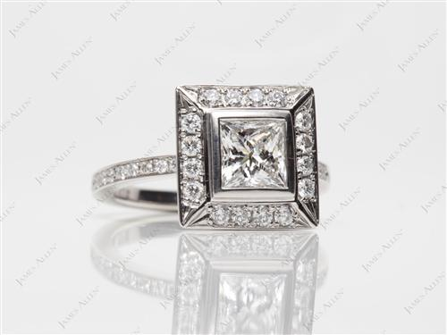 Platinum 1.01 Princess cut Pave Engagement Rings