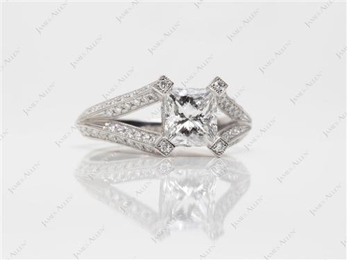Platinum 1.05 Princess cut Pave Diamond Rings
