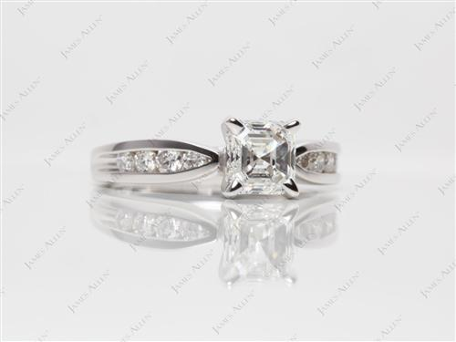 White Gold 1.20 Asscher cut Channel Cut Ring