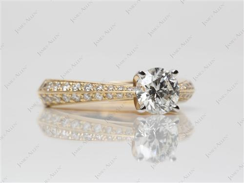 Gold 0.72 Round cut Pave Diamond Engagement Ring