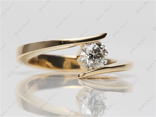 Gold 0.51 Round cut Solitaire Ring