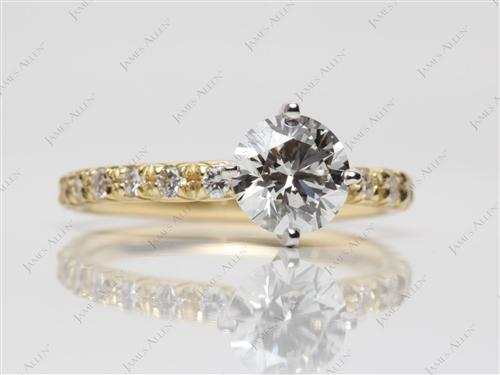 Gold 0.89 Round cut Pave Ring Mountings