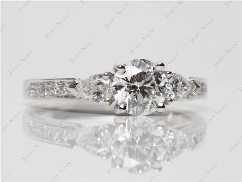 Platinum 1.02 Round cut Engagement Rings Side Stones