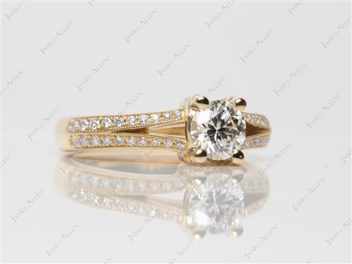 Gold 0.62 Round cut Pave Ring