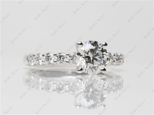 White Gold 0.94 Round cut Engagement Rings Side Stones