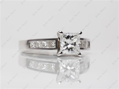 White Gold 1.07 Princess cut Sidestone Engagement Ring
