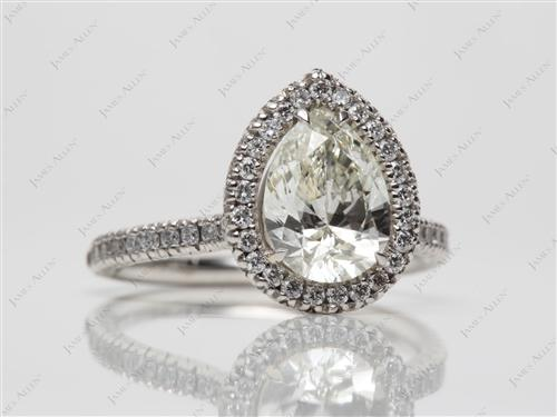 Platinum 1.50 Pear shaped Pave Diamond Rings