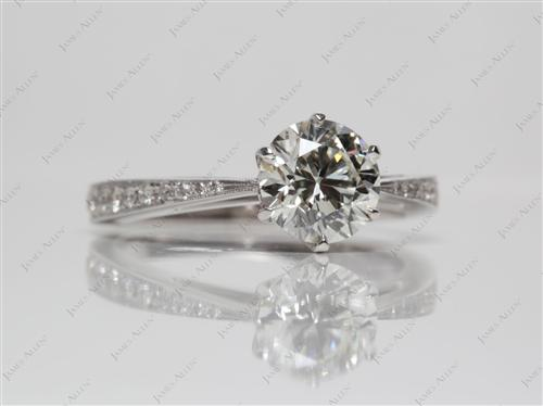 White Gold 1.30 Round cut Pave Engagement Ring