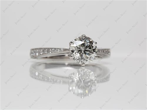 Platinum 1.21 Round cut Diamond Pave Ring