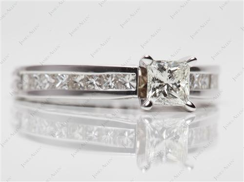 White Gold 0.50 Princess cut White Gold Wedding Sets