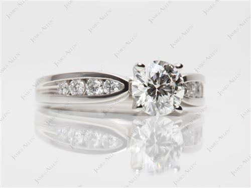 Platinum 1.00 Round cut Channel Set Diamond Engagement Rings