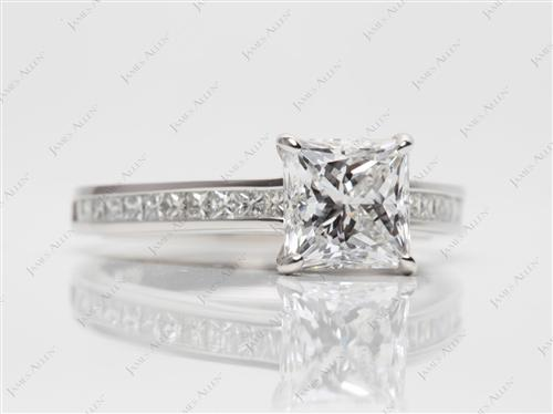 Platinum 1.85 Princess cut Channel Setting Engagement Rings