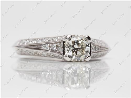 White Gold 0.93 Cushion cut Pave Engagement Rings