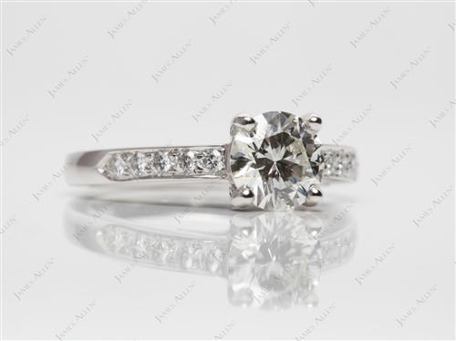 Platinum 0.88 Round cut Diamond Pave Ring