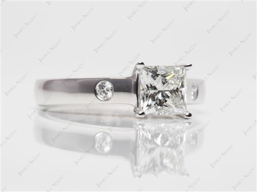 White Gold 1.01 Princess cut Engagement Rings