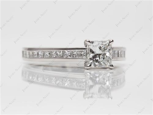 Platinum 0.70 Princess cut Channel Set Diamond Band