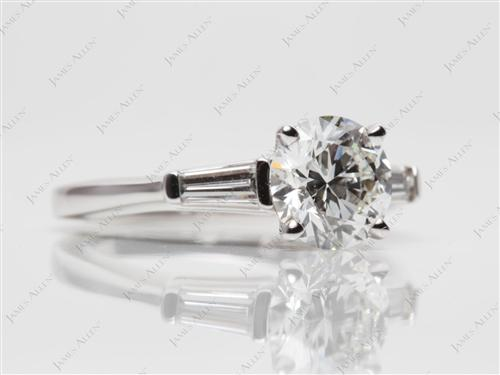 White Gold 1.41 Round cut Diamond Ring With Side Stones