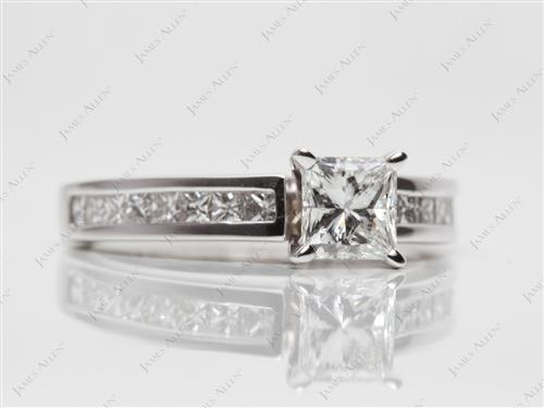 White Gold 0.72 Princess cut Channel Set Diamond Engagement Rings