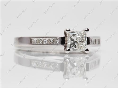 White Gold 0.64 Princess cut Channel Setting Engagement Rings