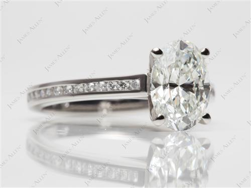Platinum 2.12 Oval cut Channel Set Diamond Rings