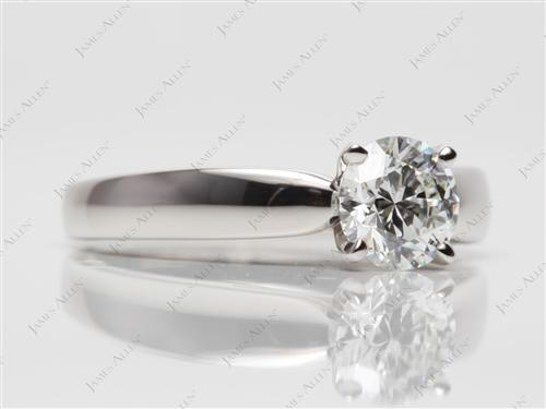 Platinum 1.00 Round cut Diamond Solitaire Rings