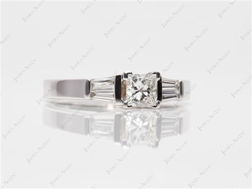 White Gold 0.52 Princess cut Diamond Ring With Sidestones