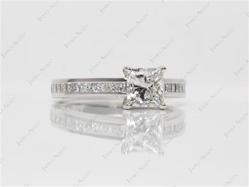 Platinum 1.00 Princess cut Channel Engagement Ring