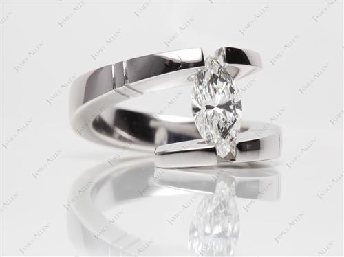 White Gold 1.25 Marquise cut Tension Set Engagement Ring