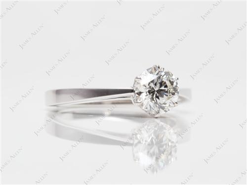White Gold 1.02 Round cut Diamond Solitaire Engagement Ring