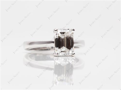 White Gold 1.30 Emerald cut Engagement Ring