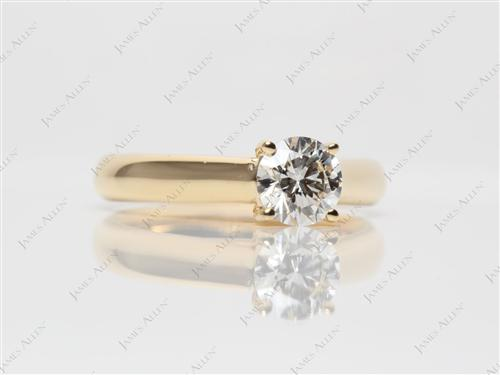 Gold 0.80 Round cut Diamond Engagement Solitaire Rings