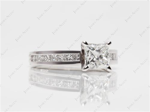 White Gold 1.08 Princess cut Channel Set Engagement Ring