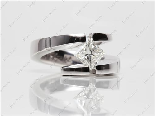 White Gold 1.01 Princess cut Tension Diamond Engagement ring